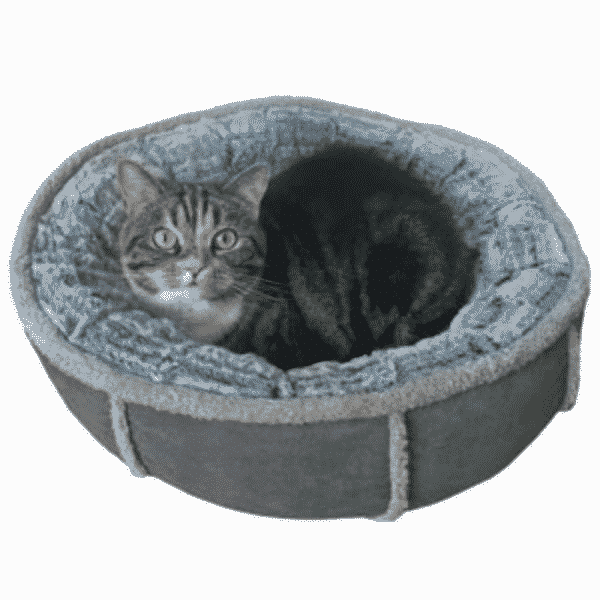 Rosewood Deep Plush Grey Donut with cat