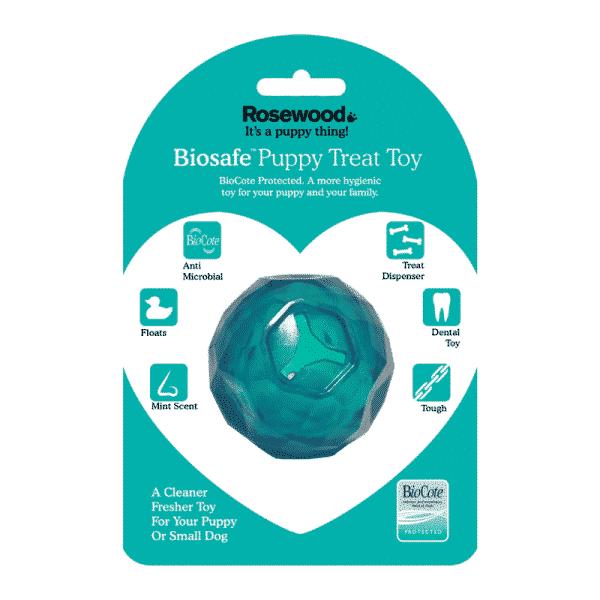 BioSafe™ Puppy Treat Ball blue package