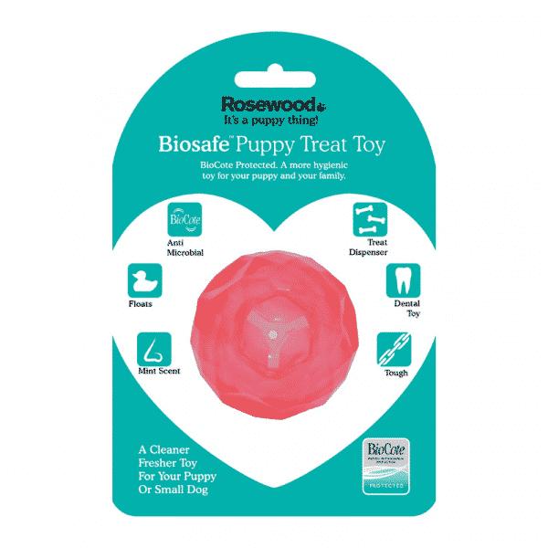BioSafe™ Puppy Treat Ball pink package