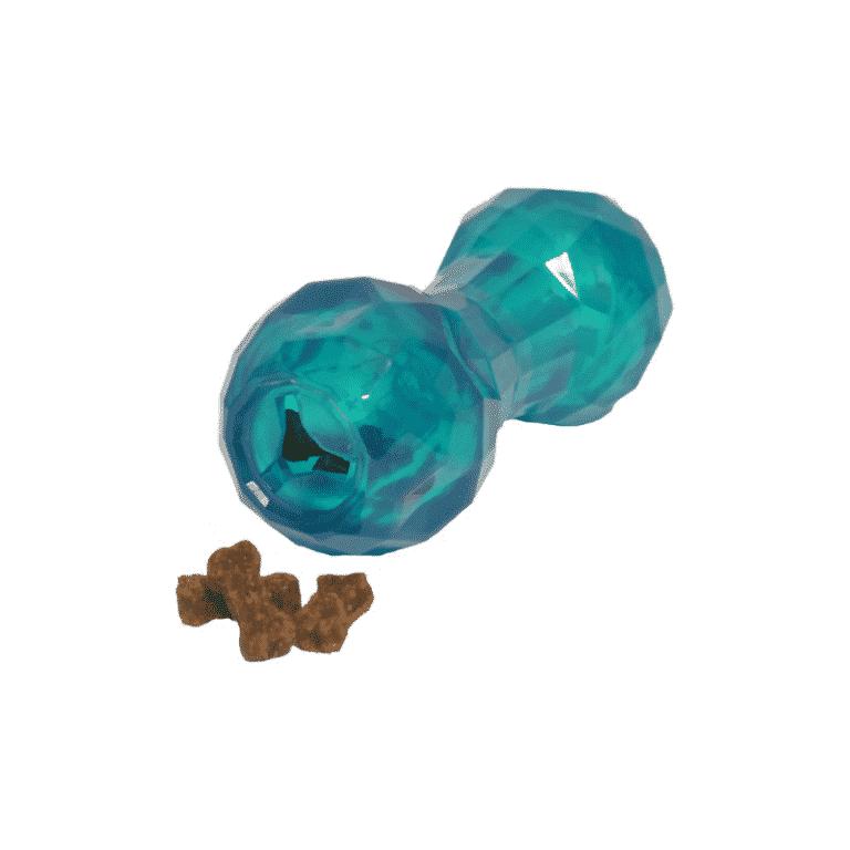 BioSafe™ Puppy Treat Dumbbell Blue dispensing