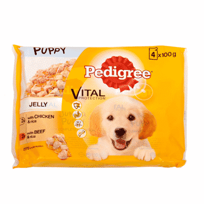 Pedigree Puppy Pouches with Jelly Multi-Pack - Chicken & Beef with Rice