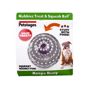 Petstages® Nubbiez Treat and Squeak Ball with package